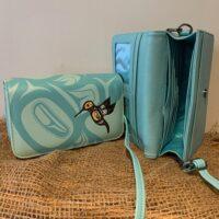 blue wallet-style purse