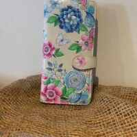 blue and pink flowered wallet