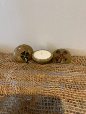 stone pot with candle