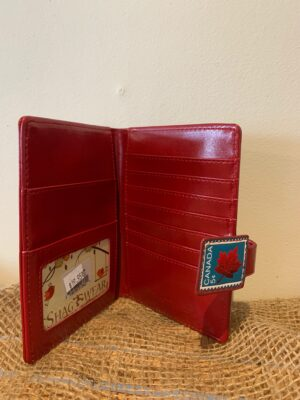red Canadian stamps wallet