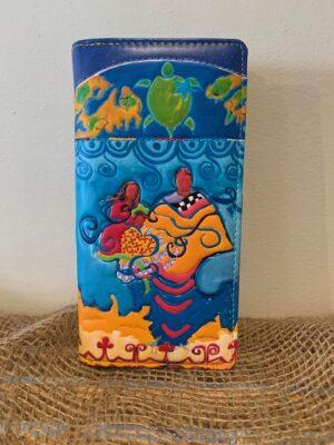 blue first nations art wallet