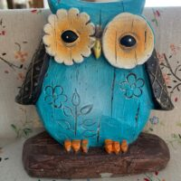 blue wooden owl