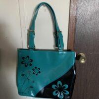 blue and black purse